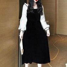 ¡Me encanta! Tener tamaño grande una pieza Puff manga velour Vestido Vintage diseño fruncido princesa antiguo tiempo largo Robe Vestido largo