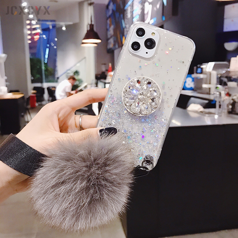 H2fe919e8c10a475995e10a13320acd8el - 3D Diamond Holder stand Glitter Hairball soft phone case for iphone X XR XS 11 Pro Max 6 7 8 plus for samsung S8 S9 S10 Note A50