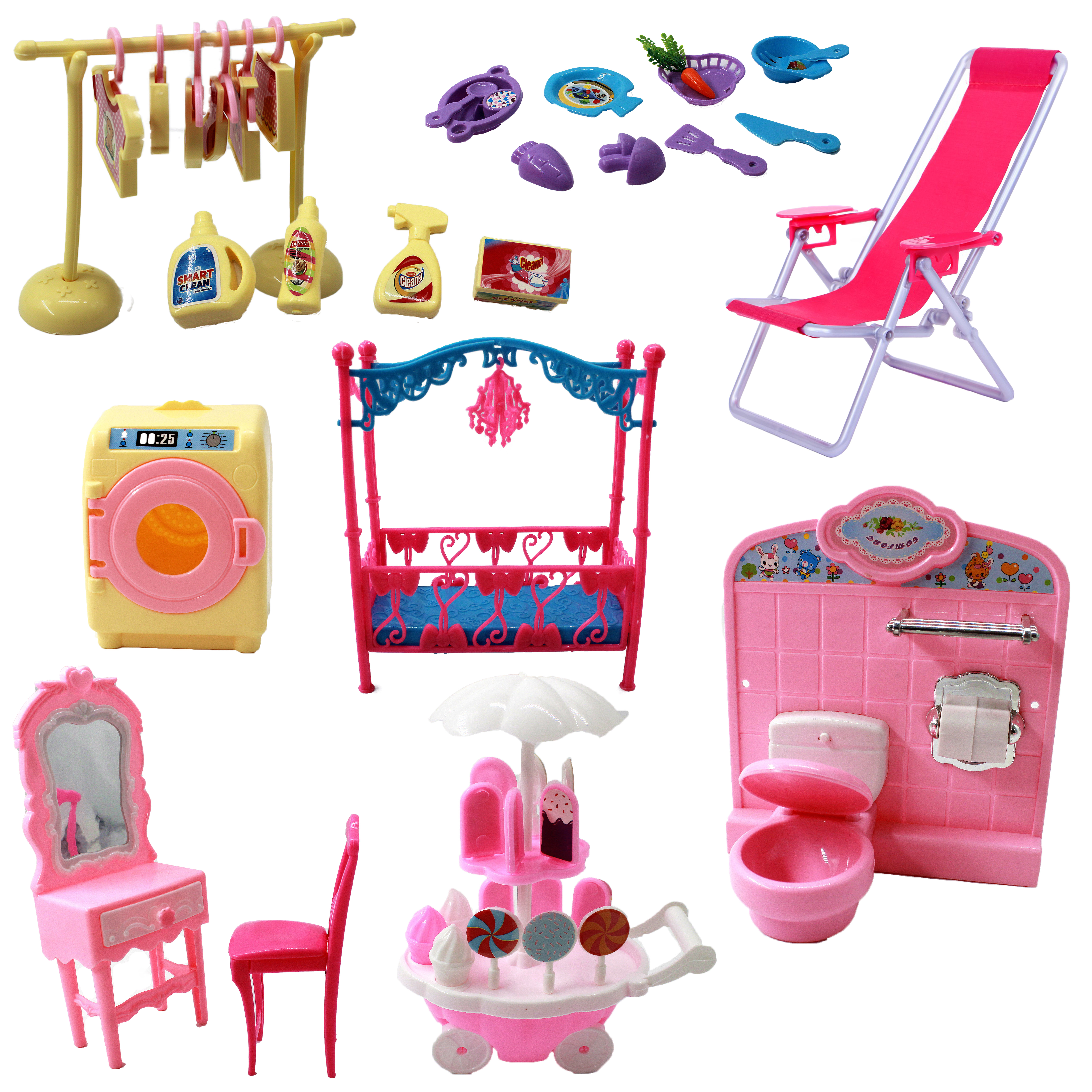 Mix Doll Toy Mini Mirror Bed Table Kitchen Cart Dinner Chair For Barbie Accessories for Kelly Tableware DIY Play house Furniture
