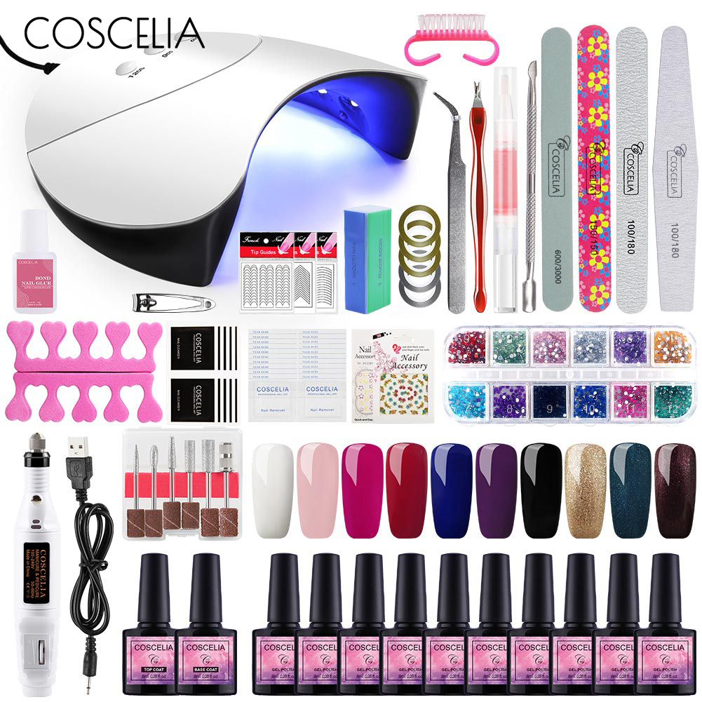 COSCELIA 36W LED Nail Polish Dryer Lamp Nail Art Manicure Tool 10 Colors Gel Nail Polishes UV Nail Set For Manicure Set