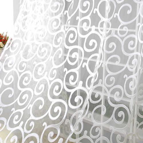 Romantico Floreale Vite Del Voile di Tulle Del Porta Tenda di Finestra Pannello di Drappo Sheer Mantovane per La Cucina Soggiorno Finestra Tenda Del Voile