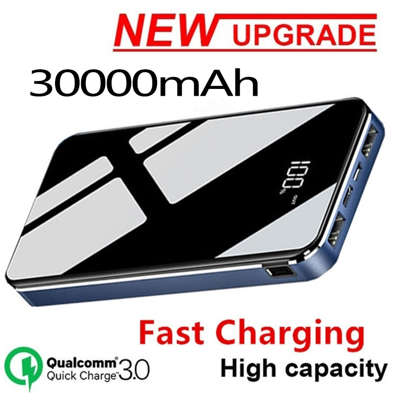 30000mAh Power Bank Portable Full Screen Large Capacity Waterproof External Battery Fast Charger For All Smartphone PowerBank
