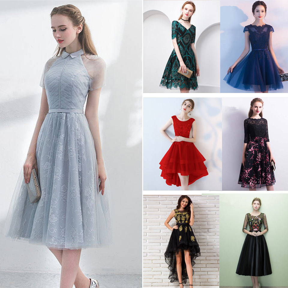 In Stock Porm Dresses Embroidery Beading Illusion Sleeveless O-neck High Low Tea Length Party Dress LX096 More Style Clearance