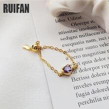Женское кольцо с круглой цепочкой ruifan регулируемое из серебра