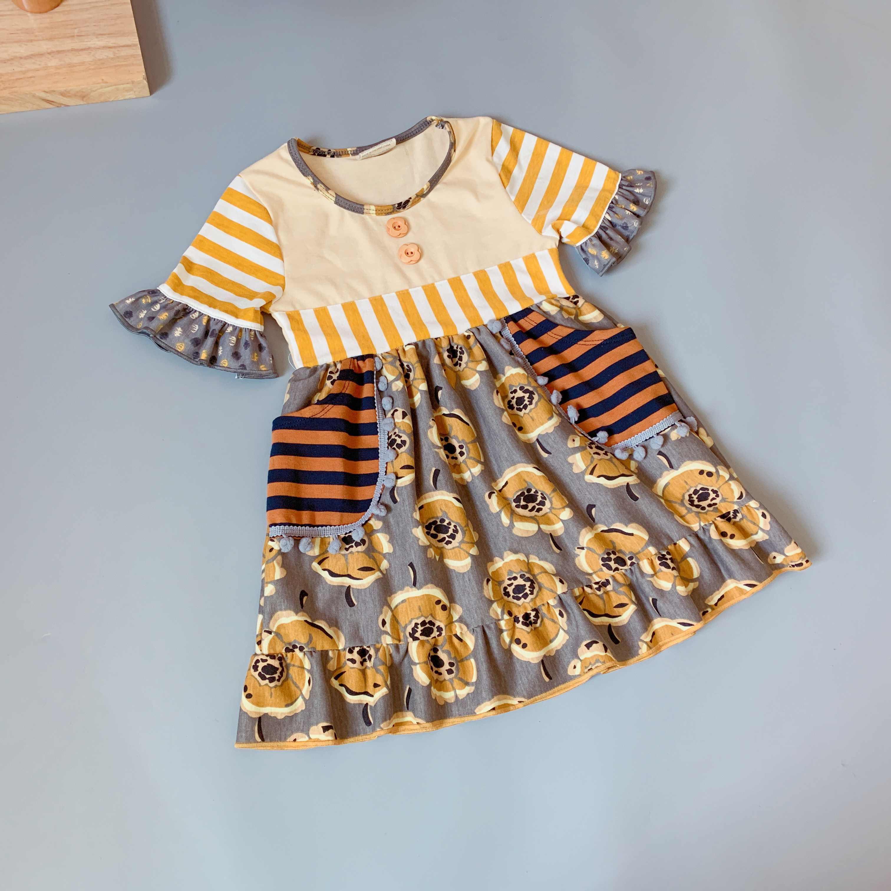 Горчичный 100% Осенняя хлопковая Футболка с геометрическим рисунком рюшами Платье для маленьких девочек осеннее платье