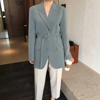 Giacca femminile 2020 dellannata boutique cinghia stretta grigio-verde giacca