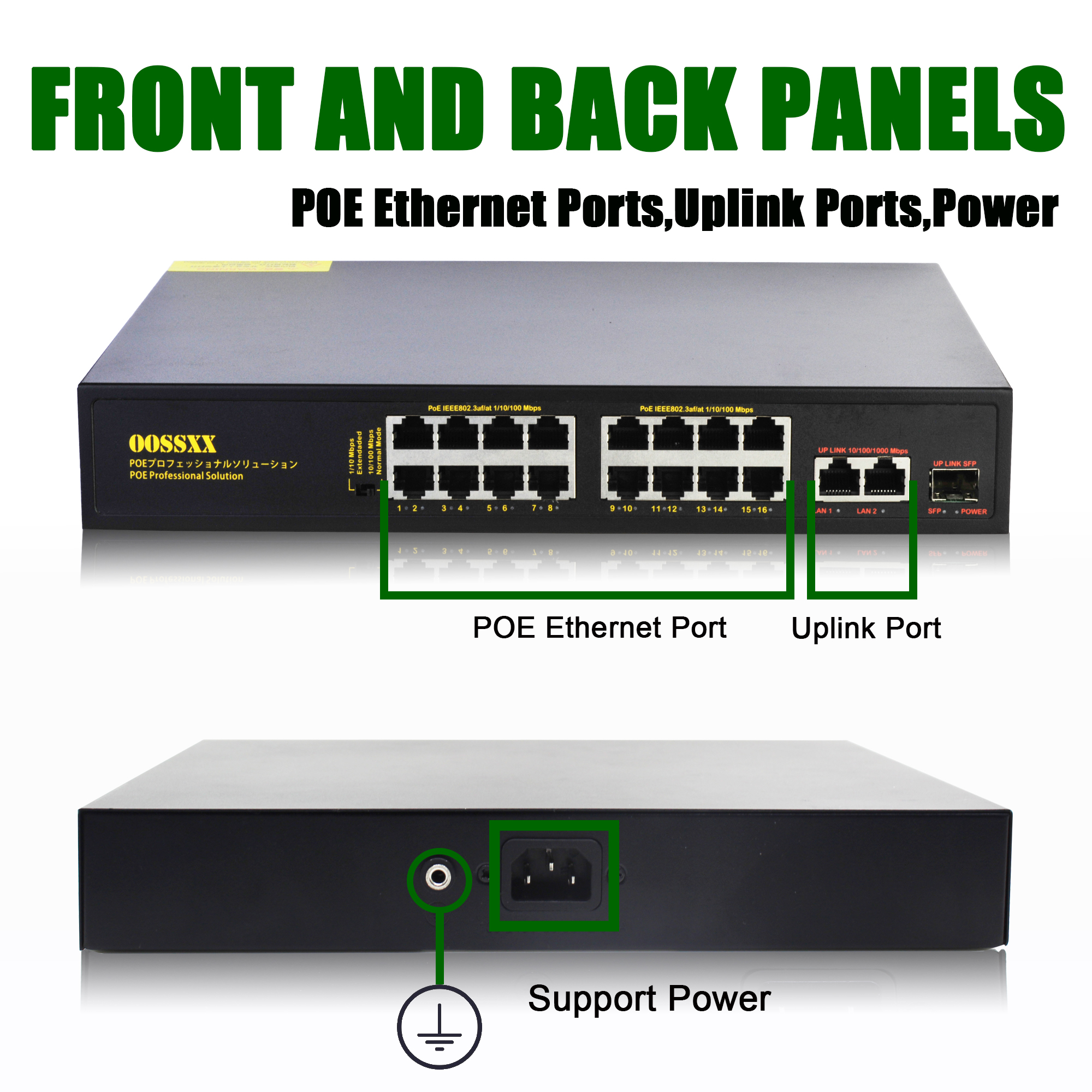 16 Port Poe Network Switch Ethernet With RJ45 Network Ports IEEE 802.3 Af/at Suitable For CCTV Camera System