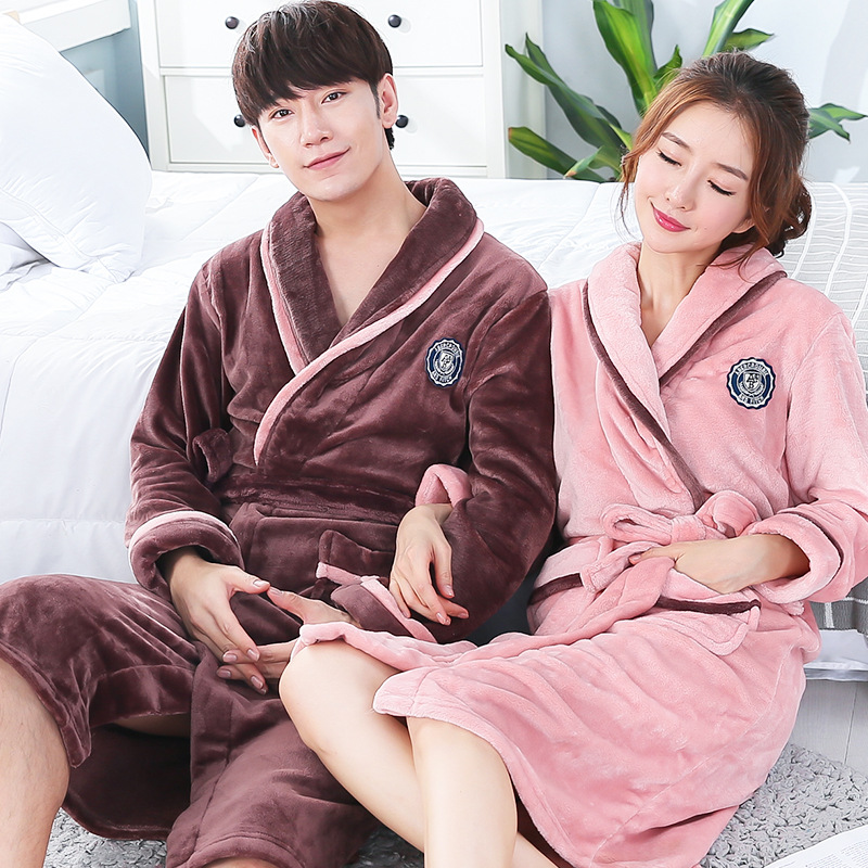 FZSLCYIYI Winter Warm Flannel Lovers Robe Kimono Bathrobe Nightgown Thick Warm Long Sleeve Sleepwear Bath Robe
