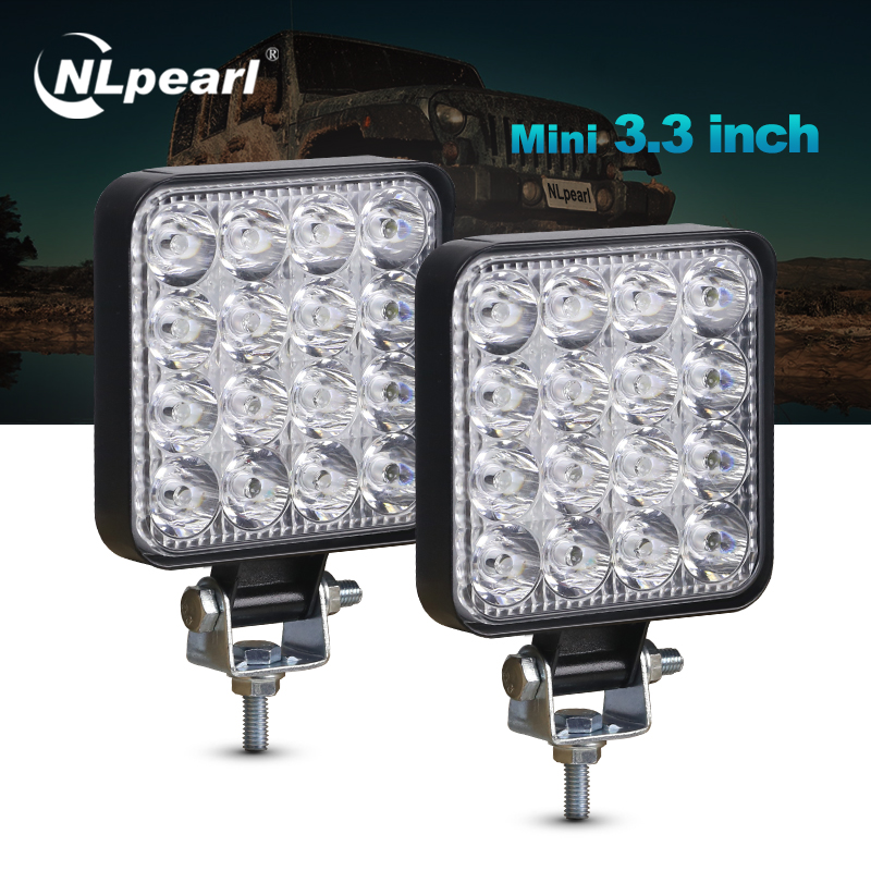 Nlpearl 2PCS 3inch Light Bar/Work Light 27W 48W Led Fog Lights For Motorcycles LED Work Light Bar For Jeep Offroad UTV Tractor
