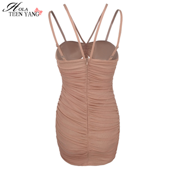 HolaTeenYang Pleated Sexy Dress Women Spaghetti Strap Holllow Out Bodycon Party Summer Dress Slim Backless Casual Party Clubwear 8