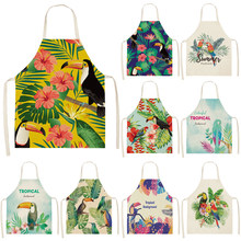 Kitchen Apron Bibs Cook-Wear Linen Flower-Pattern Cleaning-Art Adult Color Cotton Green