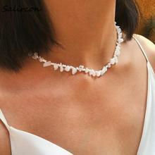 Salircon Simple Geometric NecklaceIrregular Creative Stone Choker Necklace Round White Rice Beads Necklace Jewelry Gifts Women stylish women s beads round arc necklace