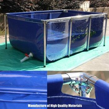 Acuario de lona de alta calidad, tanque de peces, piscina para niños, estanque de agua + soporte de acero inoxidable de alta resistencia, tipo actualizado