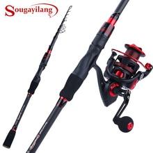 Sougayilang 1,8-2,1 м спиннинговая рыболовная удочка, комбинированная телескопическая удочка из углеродного волокна с 12+ 1BB спиннинговая Рыболовная катушка Pesca
