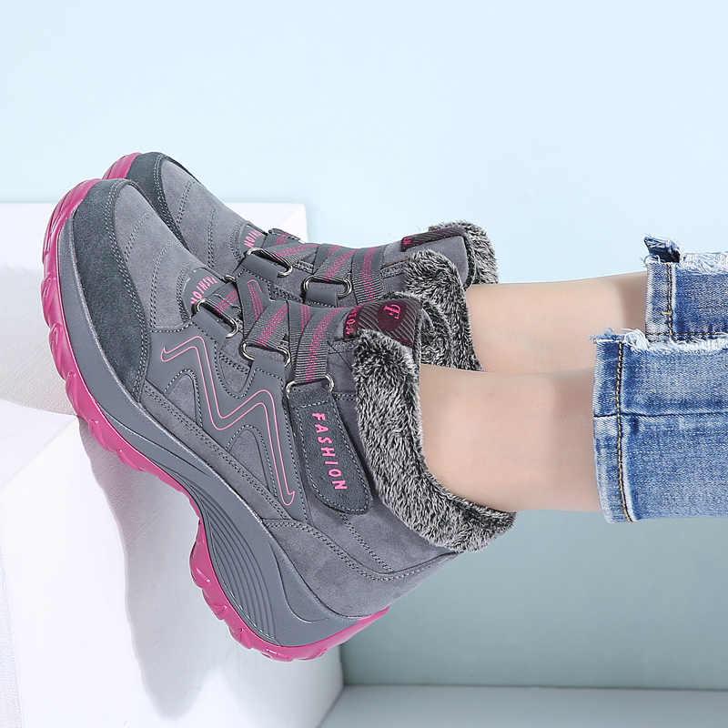 STQ 2020 kış kadın kar botları kadın sıcak itme yarım çizmeler kadın yüksek kama su geçirmez botlar kauçuk yürüyüş botları ayakkabı 6139