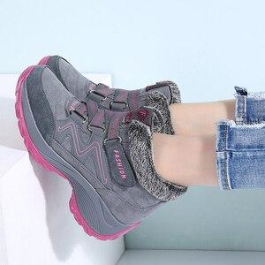 Image 3 - STQ 2020 חורף נשים שלג מגפי נשים חם לדחוף קרסול מגפי נקבה גבוהה טריז עמיד למים מגפי גומי נעלי נעלי הליכה 6139