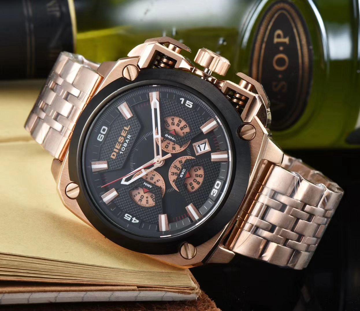 diesels watch Multi Time Zone reloj Military Clock Leather Strap 53MM Big dial DZ Stainless steel Watch Men's Sport Quartz