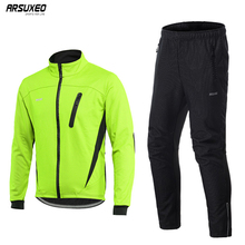 ARSUXEO Mens Thermal Fleece Cycling Jacket Set MTB Jersey Winter Windproof Sportswear Bike Pants Bicycle Suits Clothing 16HH