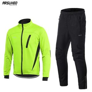 Image 1 - Arsuxeo Mannen Thermische Fleece Fietsen Jacket Set Mtb Jersey Winter Winddicht Sportkleding Fiets Broek Fiets Past Kleding 16HH
