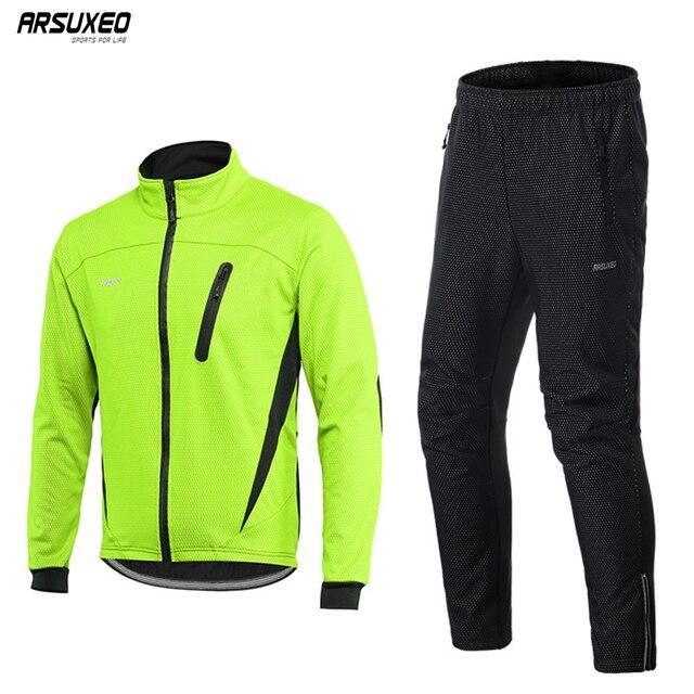 Arsuxeo Mannen Thermische Fleece Fietsen Jacket Set Mtb Jersey Winter Winddicht Sportkleding Fiets Broek Fiets Past Kleding 16HH