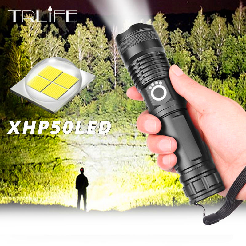 Dropshipping Ultra Bright Xlamp XHP50.2 Most Powerful Flashlight USB Zoom Led Torch XHP50 18650 or 26650 Rechargeable Battery