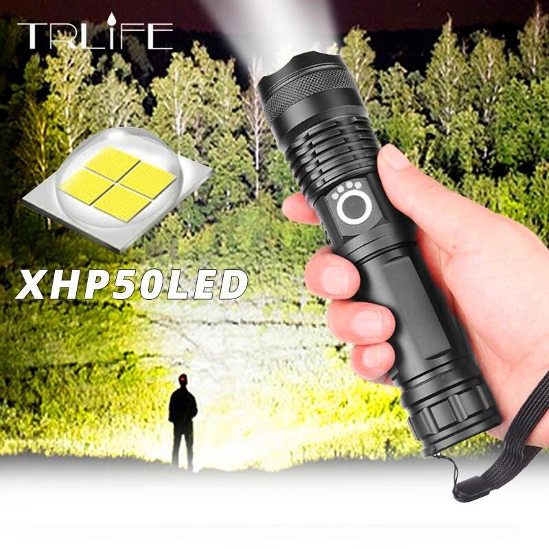 Linterna led Ultra brillante USB con zoom XHP50 18650 o 26650 batería recargable