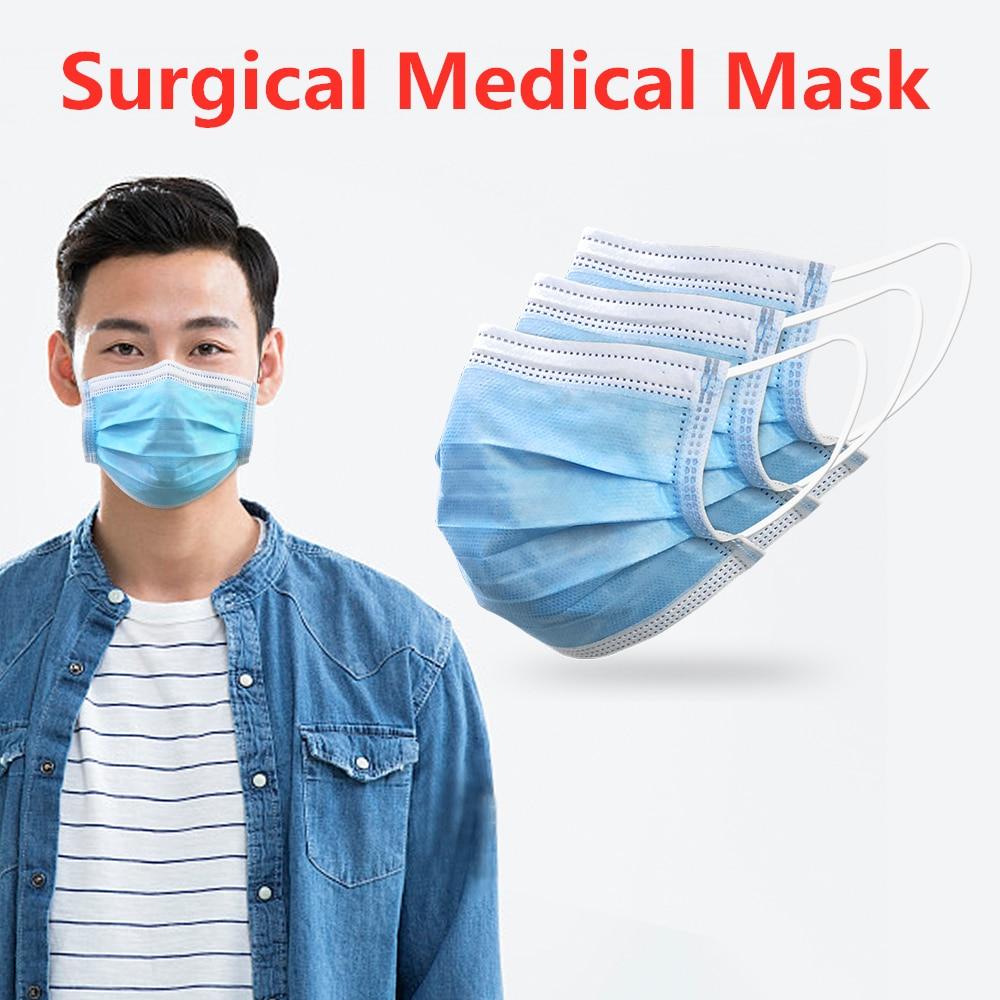 20Pcs/Bag Face Mask Medical Masks Dust Antiviral Thickened Disposable Mouth Mask 3-Layer Protective Masks As N95 KF94