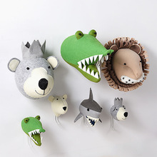 Baby Girl Room Decor Animal Heads Wall Hanging Decor For Children Nursery Bedroom Decoration Soft Install Game House Stuffed Toy