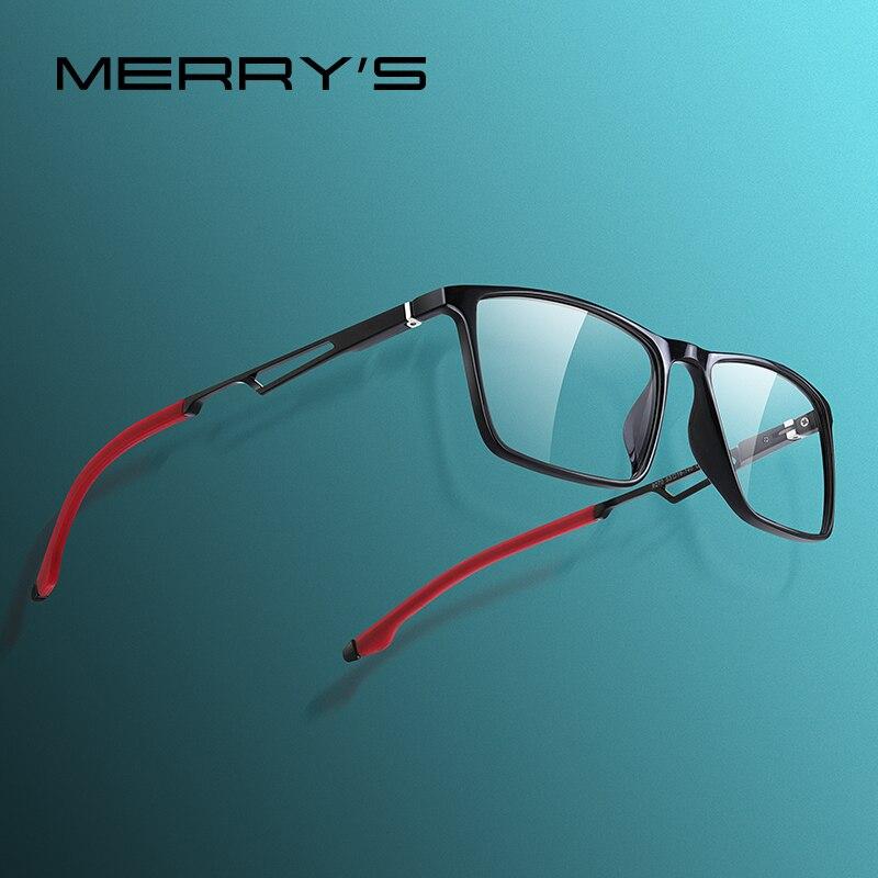 MERRYS DESIGN Men Sport Glasses Frame Myopia Prescription Eyeglasses Acetate Frame Aluminum Legs With Silicone Temple Tip S2270