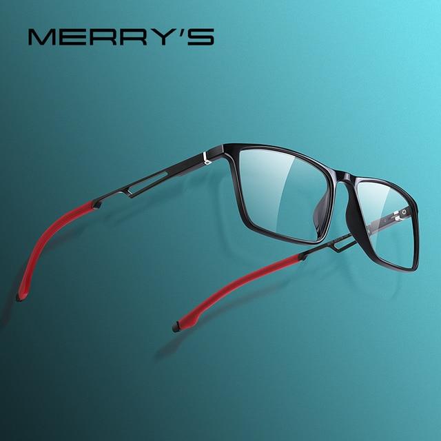 MERRYS DESIGN Men Sport Glasses Frame Myopia Prescription Eyeglasses Acetate Frame Aluminum Temple With Silicone Legs S2270