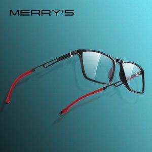 Image 1 - MERRYS 디자인 남자 스포츠 안경 프레임 근시 처방 안경 아세테이트 프레임 실리콘 다리 s2270와 알루미늄 사원