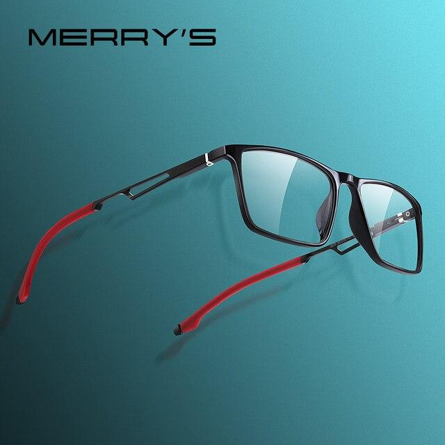 MERRYS 디자인 남자 스포츠 안경 프레임 근시 처방 안경 아세테이트 프레임 실리콘 다리 s2270와 알루미늄 사원
