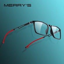 MERRYS تصميم الرجال الرياضة نظارات إطار قصر النظر وصفة طبية النظارات خلات إطار الألومنيوم معبد مع سيليكون الساقين s2 270