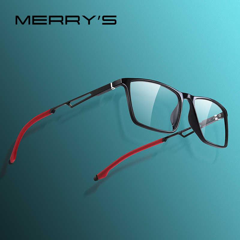 Merrys design masculino esporte óculos quadro miopia prescrição óculos acetato quadro de alumínio pernas com silicone templo ponta s2270