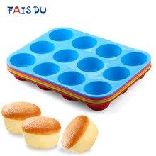 Mini muffin 12 buracos molde redondo de silicone diy cupcake cookies fondant assadeira não-vara pudim cozido no vapor molde de bolo ferramenta de cozimento