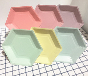 Image 3 - 60pcs Pastel Lilac Hexagon Party Paper Plates Baby Shower Birthday Wedding Party Supplies Disposable Tableware 6 Colors