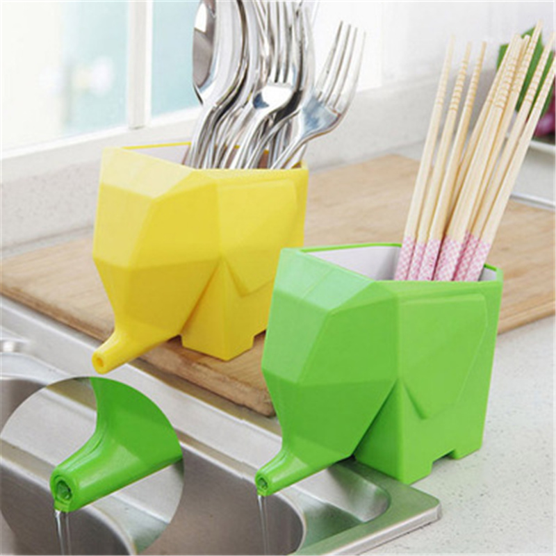Elephant Cutlery Drainer Colander Storage Draining Rack Drying For Spoon Chopsticks Fork Toothbrush Holder Cutlery Organizer