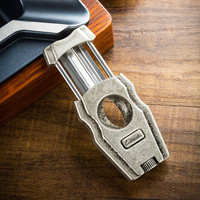 Creative 3 in 1 V Cigar Cutter with Cigar Punch And Cigar Holder Stainless Steel Cigar Scissors Men's Gadget YJA 30011