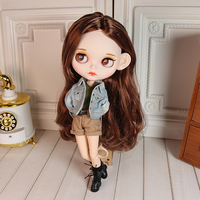 1/6 19 Joints Blyth Doll Makeup Dolls With Full Clothes DIY Kids Toys For Girls Dolls Hobby Collection Brown Hair Matte Face