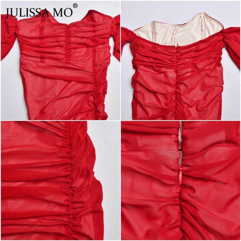 Julissa mo ダブルメッシュセクシーなロングパーティードレス女性オフショルダーボディコン夏ドレス女性レッドストラップレススプリットドレス vestidos