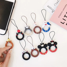 Fashion Cute Cartoon Cat Bear Phone Strap Silicon Pendant Mobile Ring Straps For iPhone Huawei Xiaomi Smartphone Universal