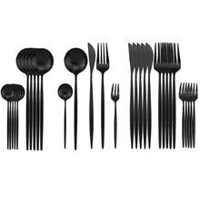 Service de vaisselle noir, 30 pièces, fourchettes à gâteaux aux fruits, en acier inoxydable 304, couverts à miroir, service de table, service de couverts
