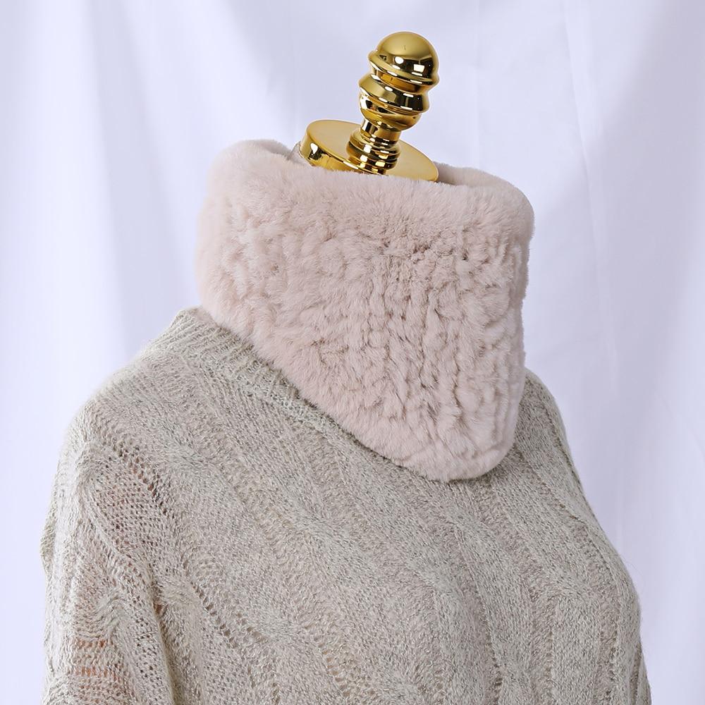 Women Real Fur Handmade Winter Knitted Fur Scarf Genuine Rex Rabbit Fur Headbands Girls Natural Ring Cowl Snood Scarves Triangle