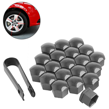 20Pcs 17mm Car Wheels Plastic Nuts with Screw Cap Removal Tools Gray for VW AUDI image