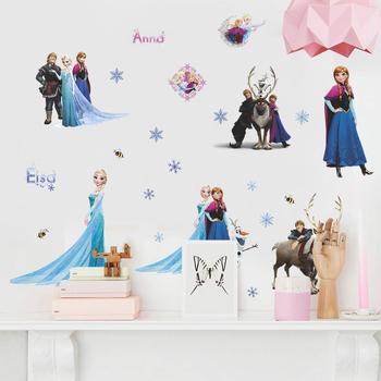 Cartoon Princess Elsa Wall Stickers for Kids Rooms Girls Bedroom Poster Vinyl DIY Mural Art Adesivo de parede Decal Baby Nursery 33