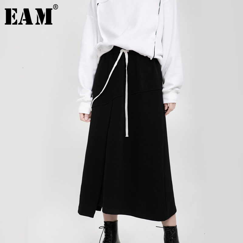 [EAM] High Elastic Waist Black Vent Bandage Temperament Half-body Skirt Women Fashion Tide New Spring Autumn 2020 19A-a178