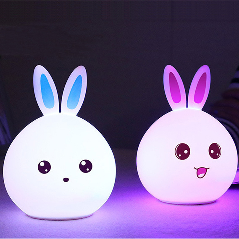 Qshare Rabbit LED Night Light Remote Touch Sensor Colorful USB Silicone Bunny Bedside Lamp For Children Kids Baby Christmas Toys