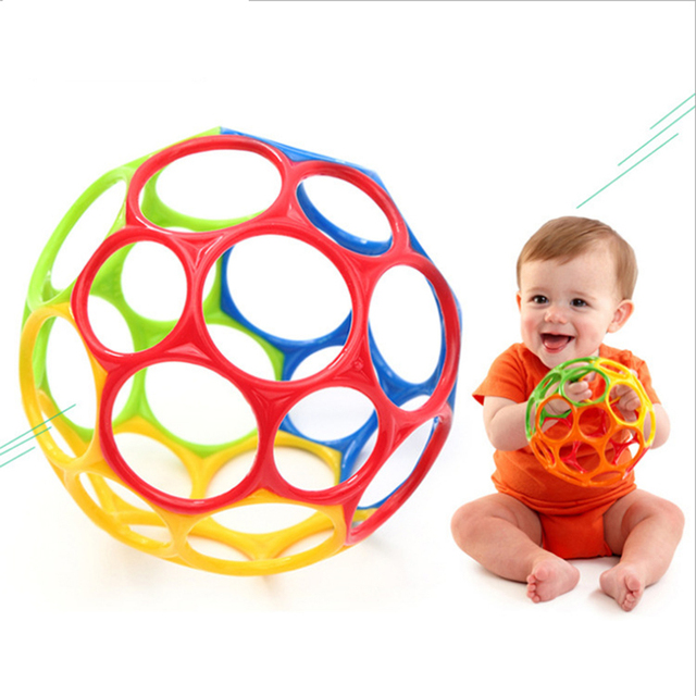 Soft Colorful Ball Toys Hand Bell Rattle Develop Toys Touch Bite Caught Hand Oball Ball For Baby Learning Grasping Kid Gift