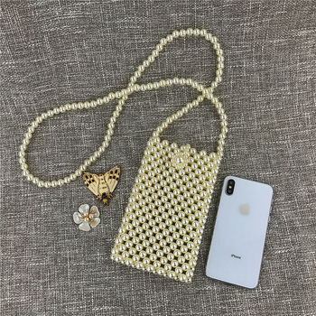 Permanent Beautiful Manual Pearl Package Mobile Phone Package Hollow Out Pearl Dinner Package Chain Package Ma'am Ins Oblique фото