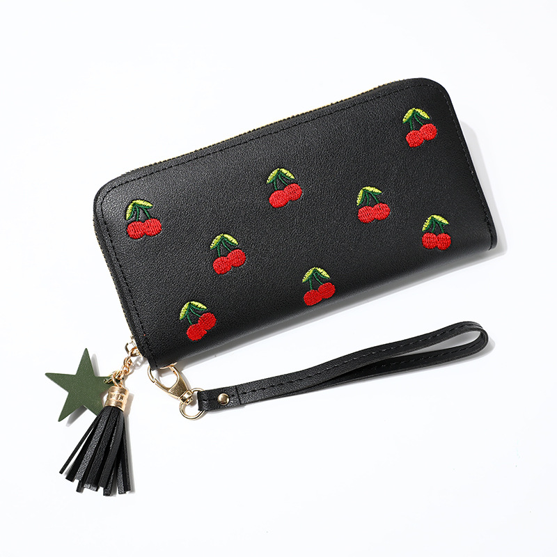 Fashion Tassel Wallet Women Long Leather Cherry Ladies Wallets Embroidered Zipper Clutch Bag Card Purse Porte Feuille Femme